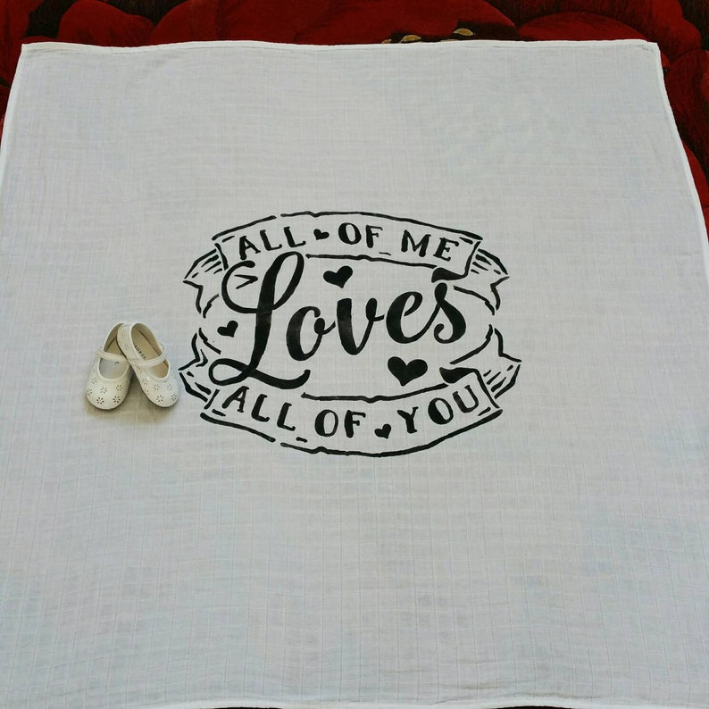 All Of Me Loves All Of You Swaddle Blanket-Personalized Baby Gift-Quote Blanket 47\u00d747-Swaddle  Blanket-Word Art Blanket-Baby Name Blanket