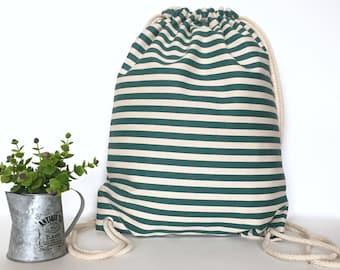 Stripe canvas backpacks Canvas backpack Drawstring backpack Canvas drawstring backpack Drawstring bag Hipster backpack White off Green strip