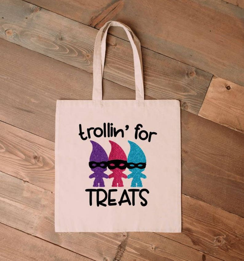 Custom trick or treat bag Trollin For Treats Trick or Treat Bag Troll Halloween bag Halloween Sack Trolls Halloween Bag smell my feet