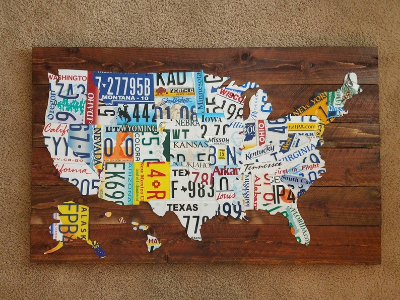 USA License Plate Map on map white on white art, map made of buttons, map of united states license, map made of tools, map made of paper, map made of flowers, map wall decor metal art, map made of books,