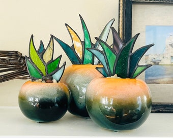 Brilliant Stained Glass Agave Potted Plant in Retro Orange Orb Hull Planter | Mid-Century Modern