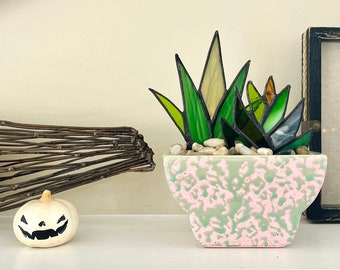 Retro Stained Glass Agave Aloe Potted Plant in Vintage McCoy Lime & Pink Speckled Planter Pot