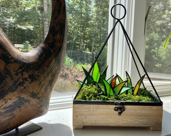 Modern Stained Glass Agave Potted Plant in Wooden/Metal Hanging Triangle Planter | Shabby Chic