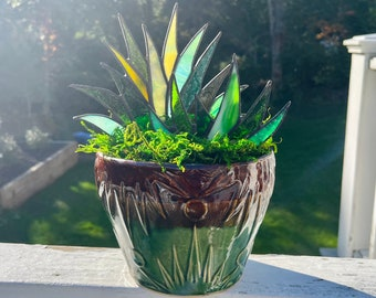 Spectacular Stained Glass Agave Aloe Potted Plant in Roseville Pottery Planter Pot