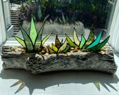 Stained Glass Aloe Agave Plants in 12 quot Log Centerpiece Planter Unique Decor
