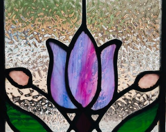 ee7ffb1b04a706 Beautiful Stained Glass Art Deco Purple Tulip