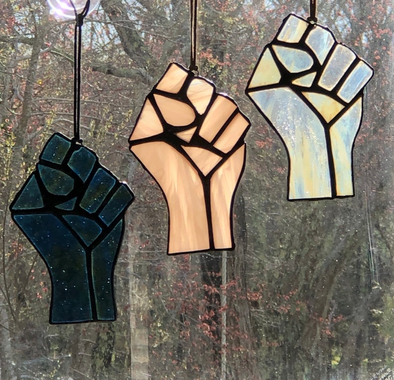 PinkWhite Stained Glass Resist Fist