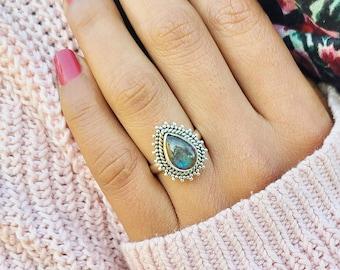 Beautiful Labradroite stone handmade silver plated ring