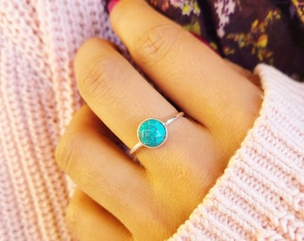 Silver Ring Natural Turquoise Ring Open Ring Gift Wedding Ring Turquoise Ring Stackable Ring Anniversary Gift Turquoise Jewelry