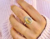 Genuine Citrine Ring, Citrine Silver Ring, Citrine Ring, 92.5 Silver Ring, Sterling Silver Ring, Citrine Statement Ring, Boho Hippie Ring