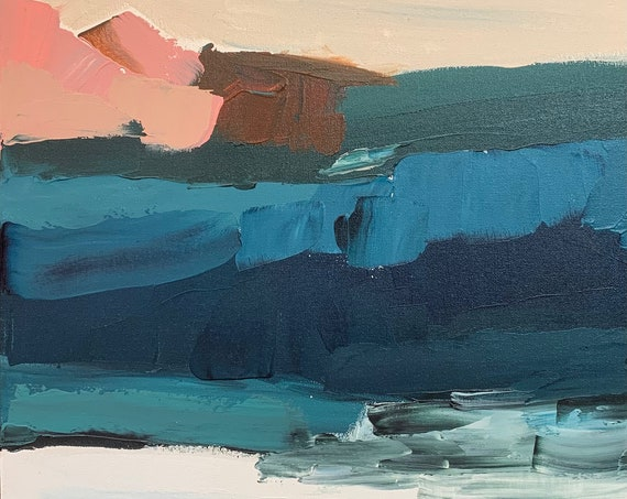 Original Abstract Painting Blue Caves