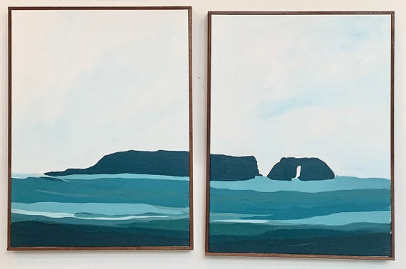 Diptych - Abstract Seascape Santa Cruz