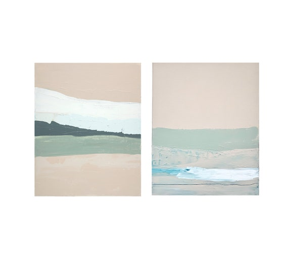 Diptych - Muted Pastel Seascape