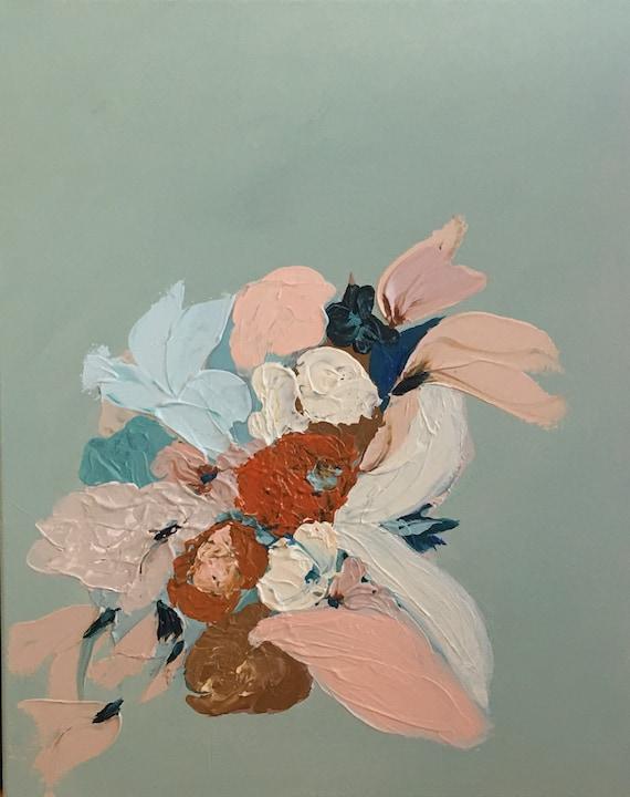Abstract summer Botanical Series #1Original framed painting