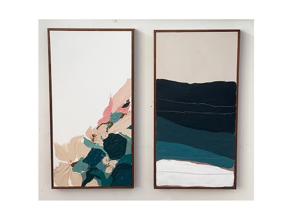 Diptych - Abstract Seascape and Abstract Botanical