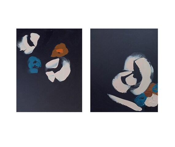 Diptych - Abstract Botanicals Navy