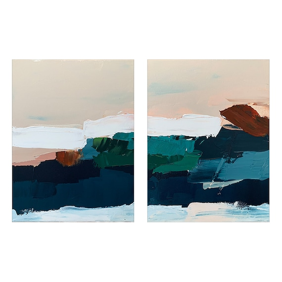 Diptych - Abstract Seascape Colorful