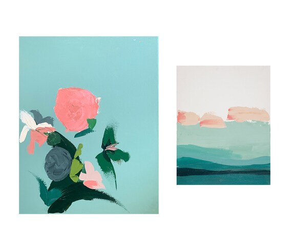 Gallery Wall - Mint Green Abstract Floral with Mint Seascape