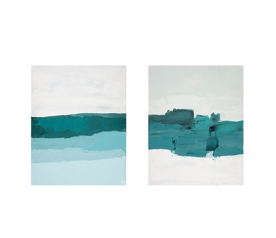 Diptych - Abstract Cool Tones