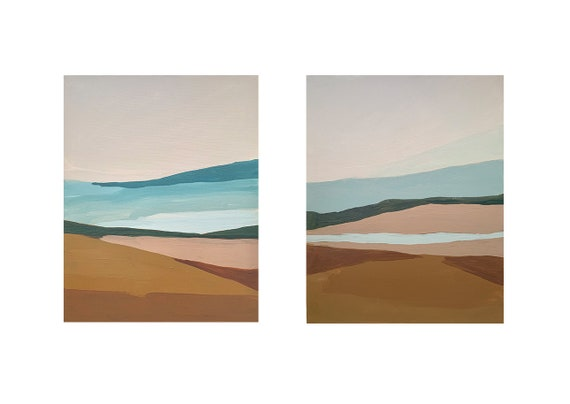 Diptych - Abstract Warm Tones