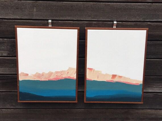 Abstract Original Painting - Santa Cruz Seascape Diptych