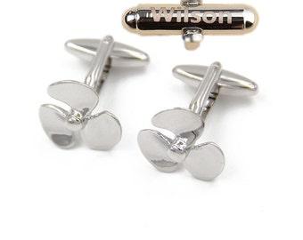 lettering propeller fan silver cufflinks Wedding Groomsmen Fan cufflinks Gift for men three blade Propeller Cufflinks