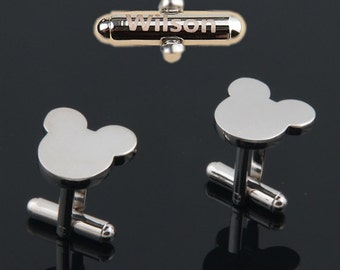 cuff links personalized,disney cufflinks,silver mickey cufflinks,Mouse Bear Ears Cufflinks,Mickey Mouse wedding cuff links.Wedding cufflinks