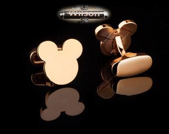 personalized cufflinks,disney cufflinks,gold mickey cufflinks,Mouse Bear Ears Cufflinks,men's cufflinks,mickey cuff links