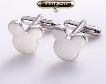 personalized cufflinks,disney cufflinks,silver mickey cufflinks,Mouse Bear Ears Cufflinks,men's cufflinks,mickey cuff links