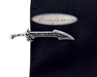 Personalized knife tie clip. Name a tie clip. Ancient sword tie clip. Vintage fashion tie clip. Weapon tie clip