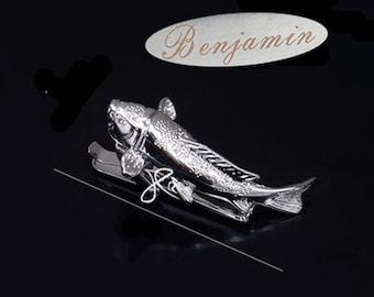 Personalized Monogrammed Silver Tie Clip Custom,Fish Tie Clip , Fish Tie Bar ,christmas gifts for Dad,unique tie clips