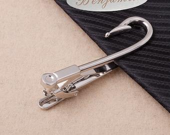fish hook tie clip Custom Tie clip silver,Hook Tie Clip Silver Tie Clip,StainlessSteelTieBar,HookTieBar,HookTieClipSilverTieClip