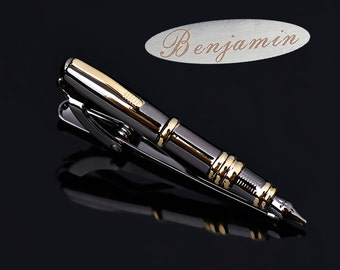 Monogramtieclip,PenTieClip,Fountainpentieclip,Vintagetiebarcalligraphywriters,luxury coolgiftforman NoveltyAccessories