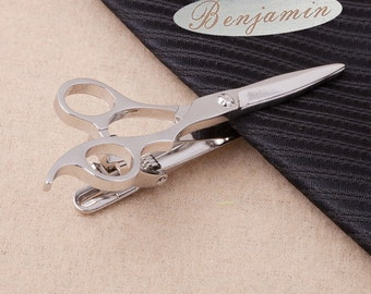 Men's Personalized Tie Clip,Scissors Tie Clip, Scissors Tie Tack, Hero Tie Tack, Gold Tie Clip,Anniversary Tuxedo Bridal Wedding Party