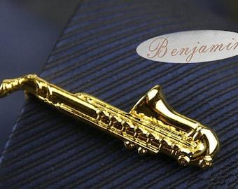 unique tie clips Sachs tie clip, Musical Instruments Tie Clip,Novelty Accessories,Gift For Man,Gold tie clips,steampunk tie clip