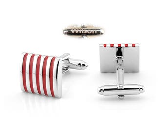 Red striped shirt cuff button, white leader button, office cufflinks, engraved name gifts, personalized gifts, cufflinks