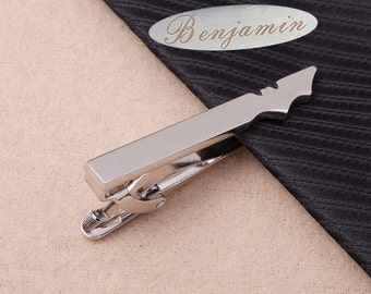 personalized tie bar,silver Bat Tie Clip,groomsmen gifts,husband gift,fashion,luxury,Best Man Gift,christmas gifts for Dad