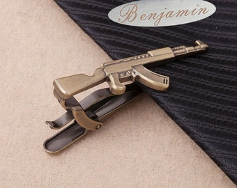 Rifle Tie Clip,Rifle Tie Bar,tiebarpersonalized,AK-47 unique tie clips,Men's Accessories, Hunting Gifts For Men,unique tie clips