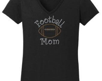 Football Mom Rhinestone T-Shirt Made to order