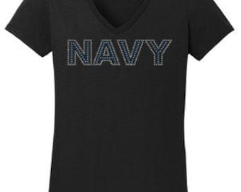 Navy Rhinestone T-Shirt Made to order