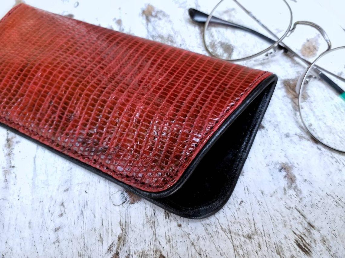 Lizard leather glasses case