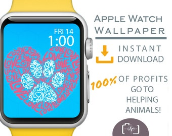 Apple Watch Wallpaper, Dog Mom Apple Watch Face, Love Heart Paw Print Apple Watch, Cover for Apple Watch Face, Dog Mom Gift, Dog Apparel