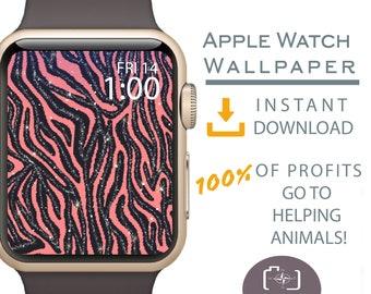 Apple Watch Wallpaper, Zebra Animal Print Apple Watch Face, Apple Watch Face Cover, Gold Glitter Apple Watch, Dog Mom Gift, Dog Gift Ideas,