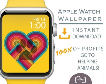 Apple Watch Wallpaper, Dog Mom Apple Watch Face, Apple Watch background, Rainbow heart paw Apple Watch Face, Dog Mom Gift, I love dogs sign
