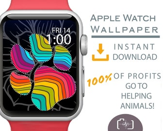 Apple Watch Wallpaper, Paw Print Watch Face, Rainbow Apple Watch, Cover for Apple Watch Face, Dog Mom Gift, Dog Apparel, Gift for Teen Girl