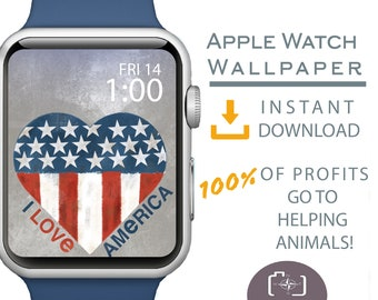 Apple Watch Wallpaper, Independence Day Apple Watch Face, July 4th Apple Watch Background, American Pride Apparel, Red White Blue Apparel