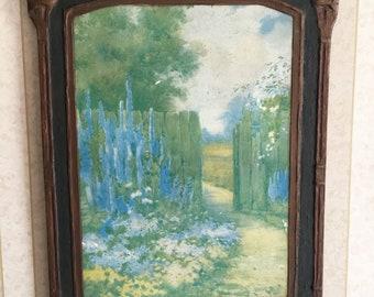 Vintage Cottage Garden Wall Art, Gesso Duro Craft, Pilkington Oilette,  Cottage Decor, Chippy Shabby Style