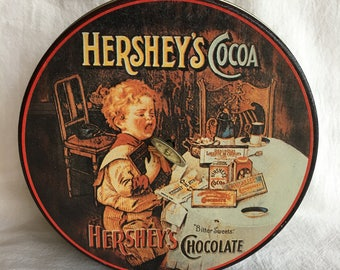 Vintage Hersheys Cocoa Musical Tin Bittersweet Candy or Biscuit Tin