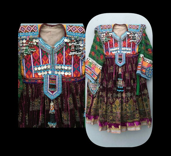 Tribal kuchi nomadic vintage woman dress