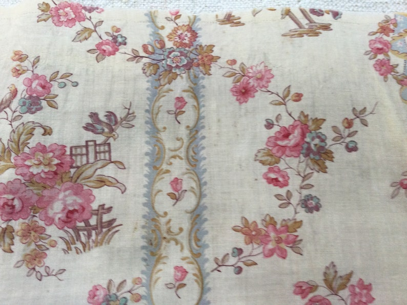 C1900 birds printed. Antique French printed on fine cotton Old fabric coupon printed with flowers and birds